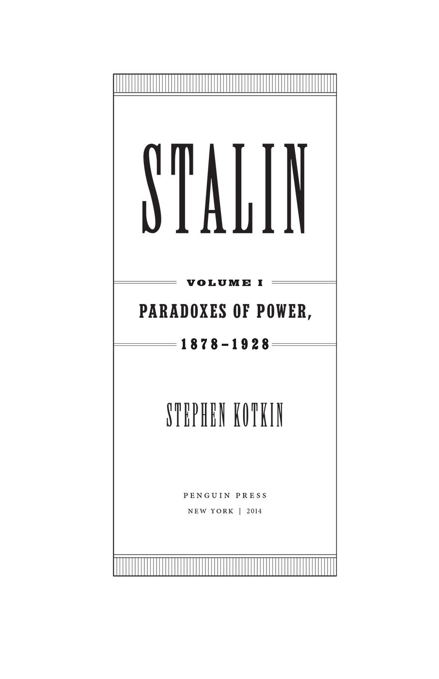 Stalin, Volume 1